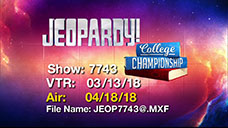 [Jeopardy! 2018 College Championship - Title Slate]